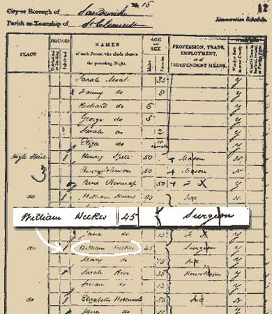 Weekes shown in 1841 Census
